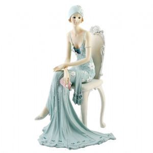 Juliana Collection Broadway Belle Figurine Dressed in Teal Sat on a Chair  58379